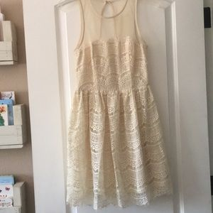 Anthropologie cream lace dress